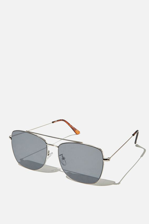 Square Aviator Sunglass, BRUSHED SILVER