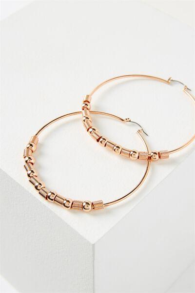 Beaded Hoop Earring, ROSE GOLD