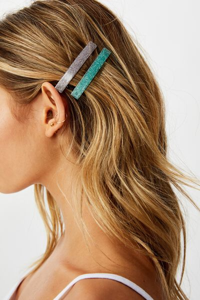 2Pk Barrette Hair Clip, LAVENDAR GLITTER/SEAFOAM GLITTER