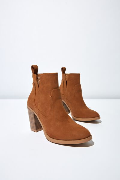 Nala Cut Out Boot, TAN NUBUCK PU