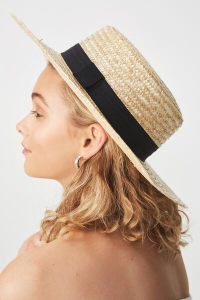Ascot Boater Hat, NATURAL