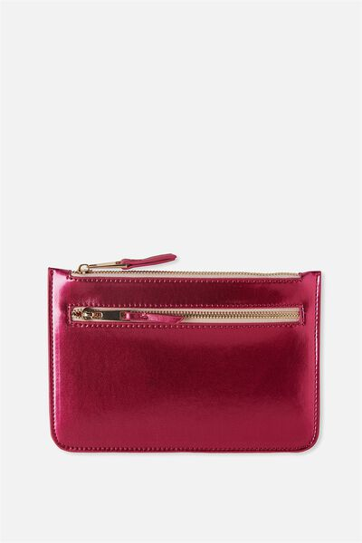 Queens Clutch Purse, PINK METALLIC