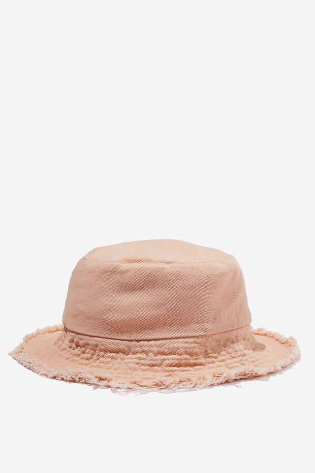 Bianca Bucket Hat, DUSTY PINK FRAYED BRIM