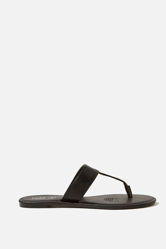 Everyday Pip Toe Post Slide, BLACK PU