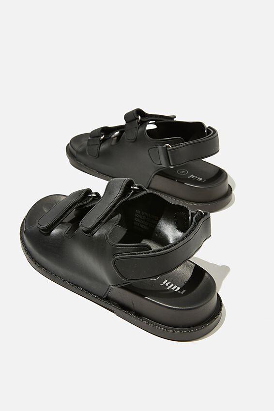 Mimi Moulded Sporty Sandal, BLACK