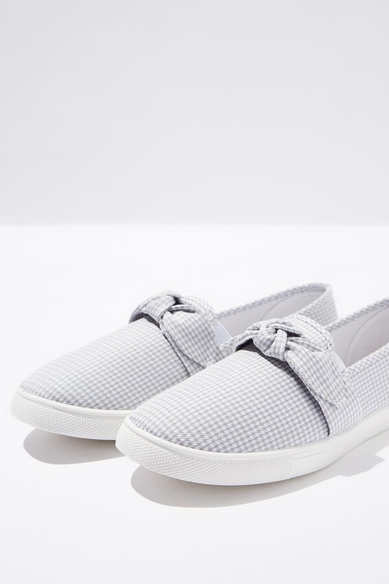 Belle Bow Slip On, LIGHT GREY MINI CHECK