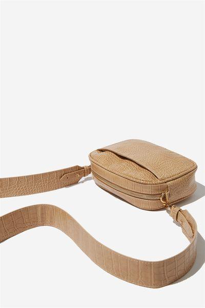 Luxe Cross  Body Bag, FAUX NUDE CROC