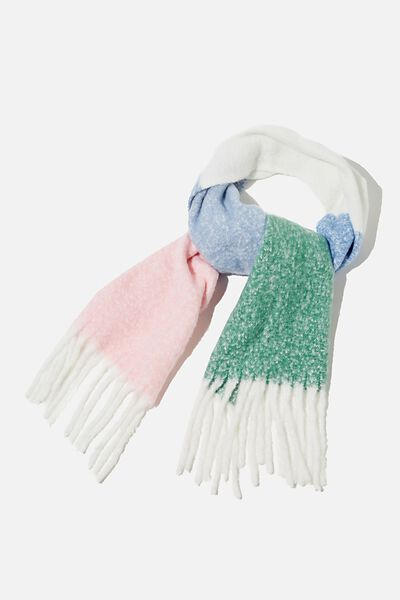 Phoebe Brushed Tassel Scarf, AIR BLUE COLOUR BLOCK
