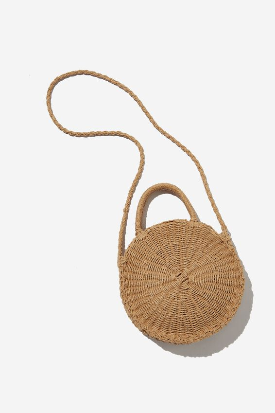 Summer Love Woven Circle Bag, NATURAL