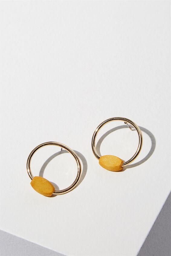Waikiki Earring, MUSTARD/GOLD