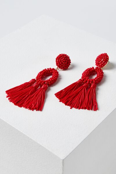 Beaded Hoop Tassel Statement Earring, RED