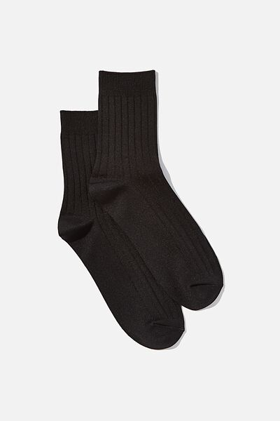 Slinky Ribbed Sock, BLACK