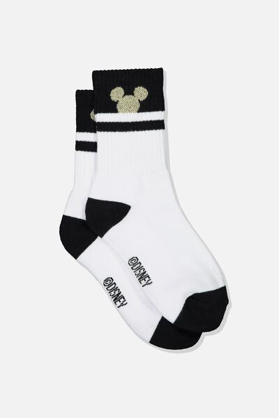 Sporty Stripe Crew Sock, WHITE/GOLD SPARKLE MICKEY SILHOUETTE