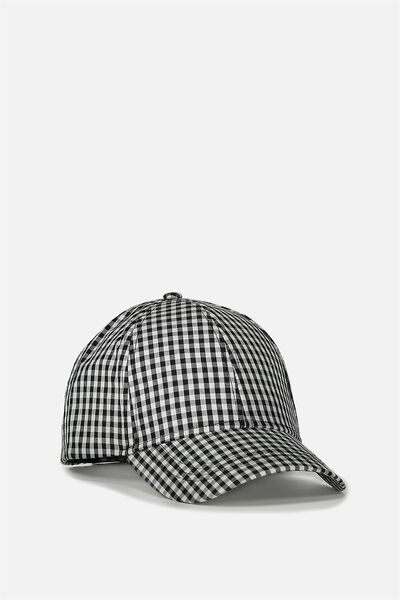 Nancy Cap, BLACK/WHITE GINGHAM