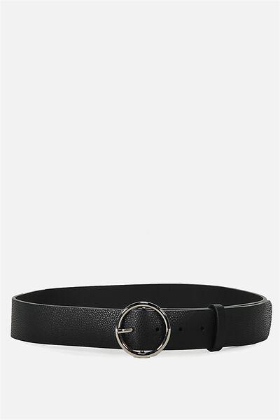 Classic Circle Buckle Belt, BLACK W SILVER