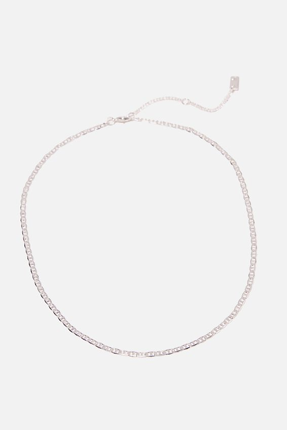 Premium Single Chain Necklace, STERLING SILVER PLATED JUPITER