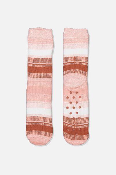 Coc Loungin Round Sock, ROSE TAN OMBRE STRIPE