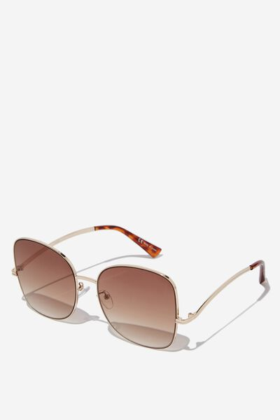 Khloe Oversized Sunglass, S.GOLD/BROWN