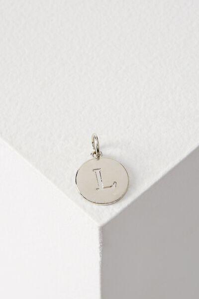 Letter Flat Pendant Charm, SILVER - L