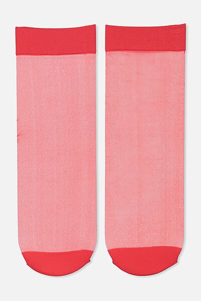 Poppy Sheer Sock, RED