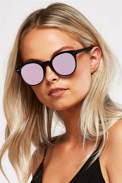 Angie Preppy Sunglasses, MATTE BLACK/PINK REVO