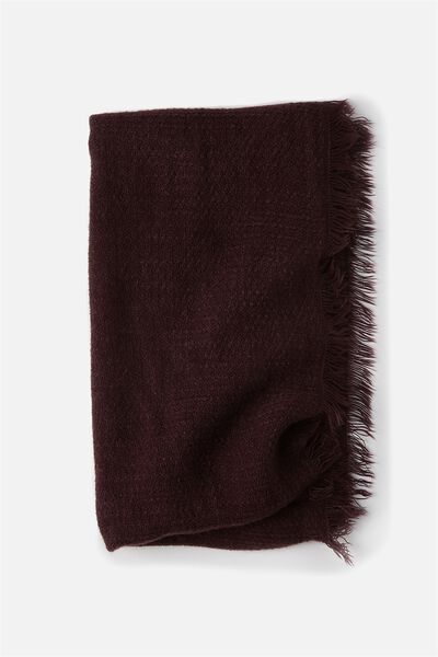 Cosy Fringe Snood, WINE