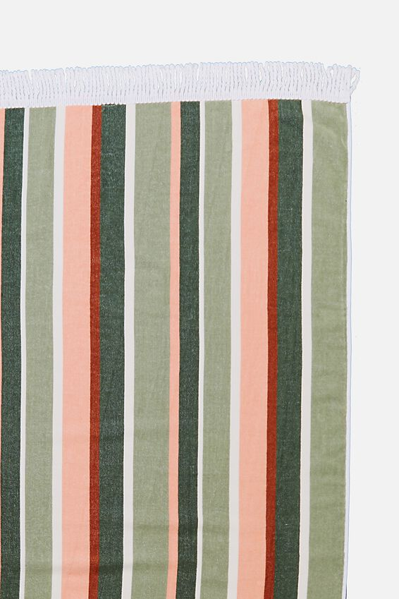 Bondi Rectangle Towel, BLUSH/SAGE VERTICAL STRIPE