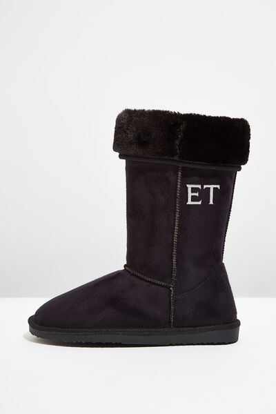 Personalised Tall Home Boot, BLACK