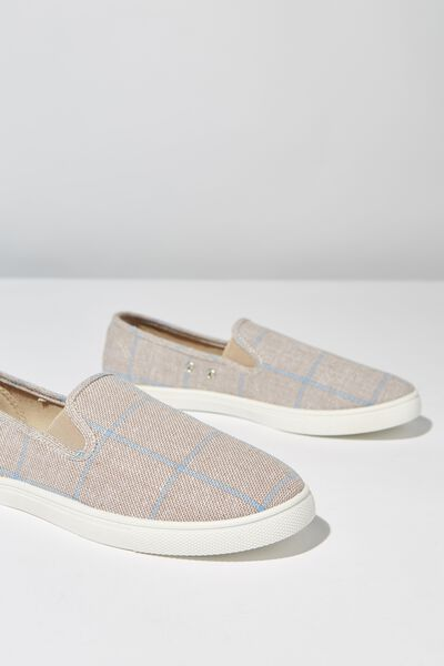 Hazel Slip On Sneaker, TAUPE/BLUE WIDE CHECK