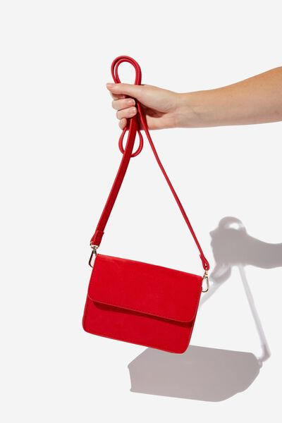 Boxy Cross Body Bag, RED MICRO