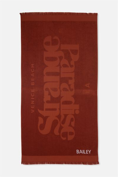 Personalised Love A Jacquard Towel, RUST TEXT STRANGE