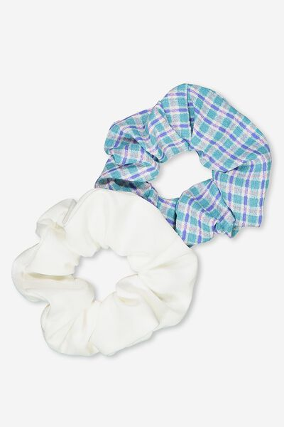 2Pk Scrunchie, BRIGHT BLUE MINI CHECK