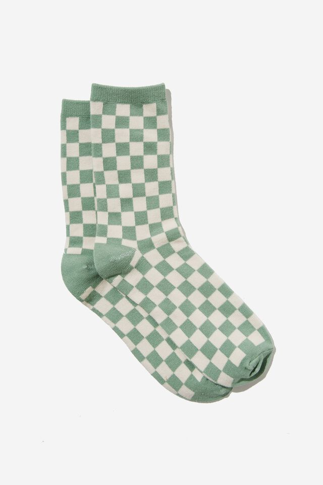 Carrie Crew Sock, MOSS GREEN/CHECKERBOARD