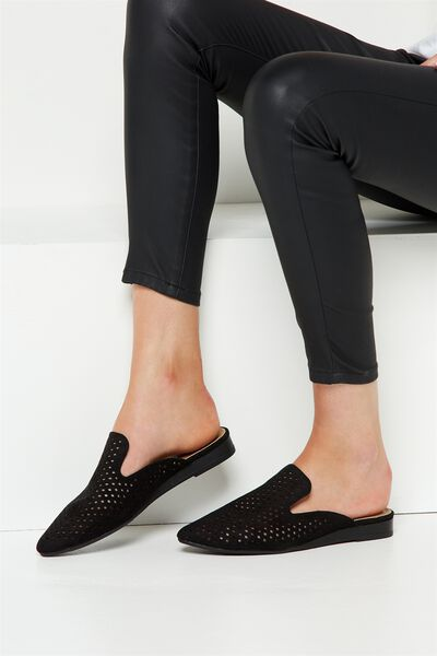 Leon Slipper Mule, BLACK LASER CUT
