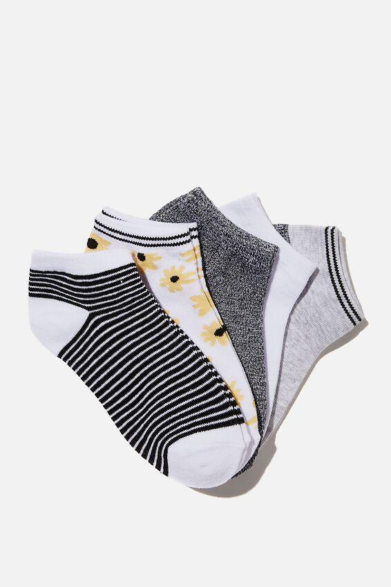 5Pk Ankle Sock, DAISY MIX