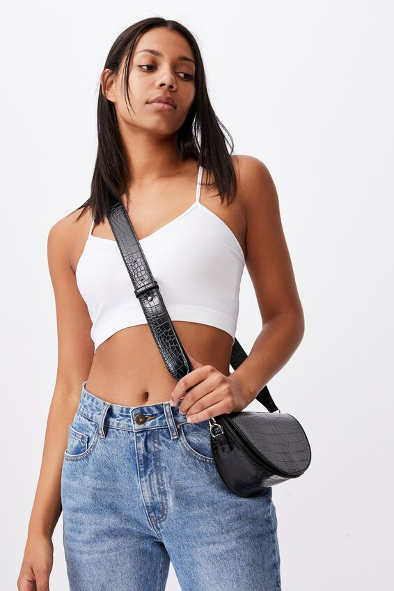 Georgie Cross Body Bag, BLACK TEXTURE