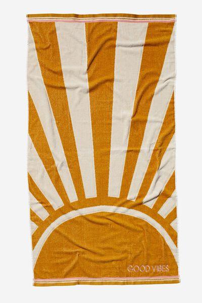 Personalised Bondi Rectangle Towel, YELLOW SUNSHINE