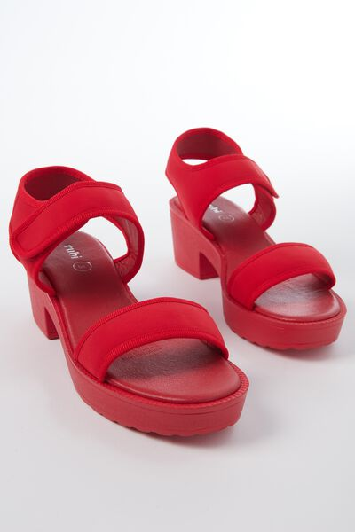 London Double Strap Heel, RED