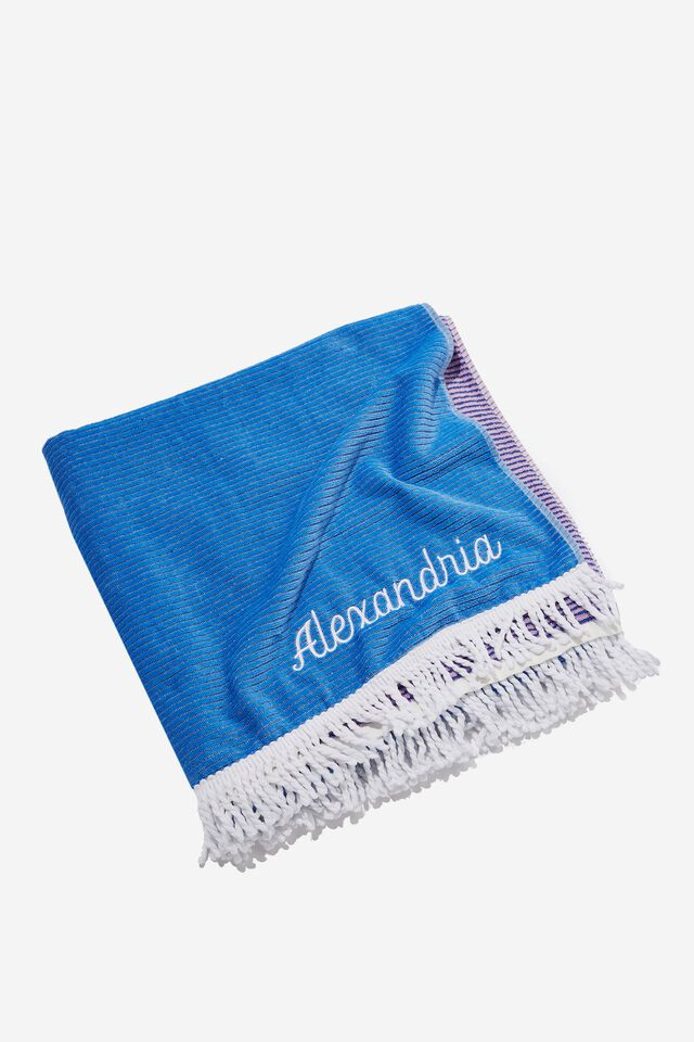 Personalised Bondi Rectangle Towel, LILAC COLOUR BLOCK