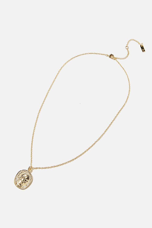 Premium Pendant Necklace, GOLD PLATED MOLTEN COIN