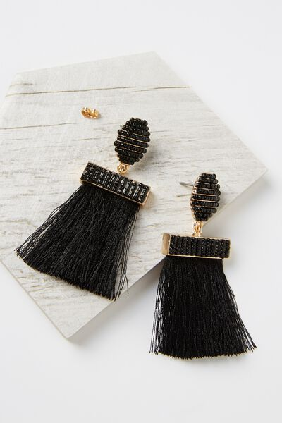 Beaded Curtain Earring, BLACK/GOLD