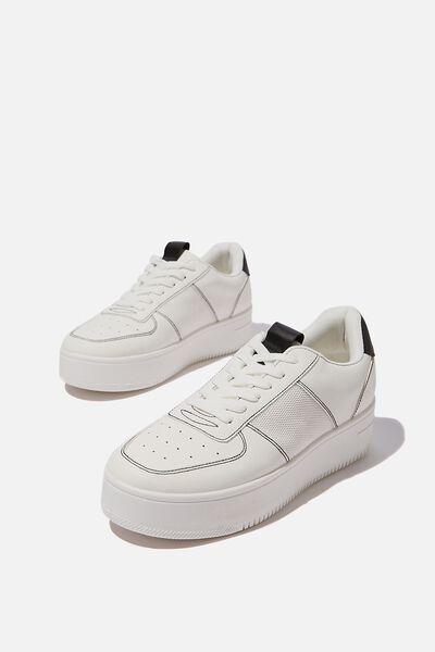 Alexa Platform Sneaker, WHITE BLACK