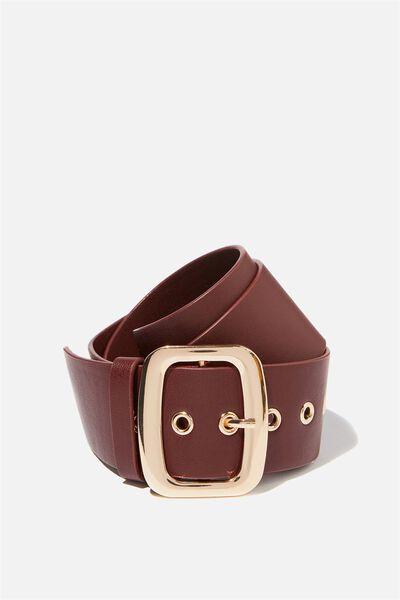 Romy Rectangle Belt, OXBLOOD