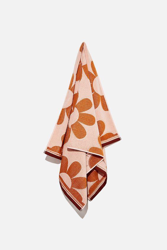 Bondi Rectangle Towel, PINK GLOW DAISIES