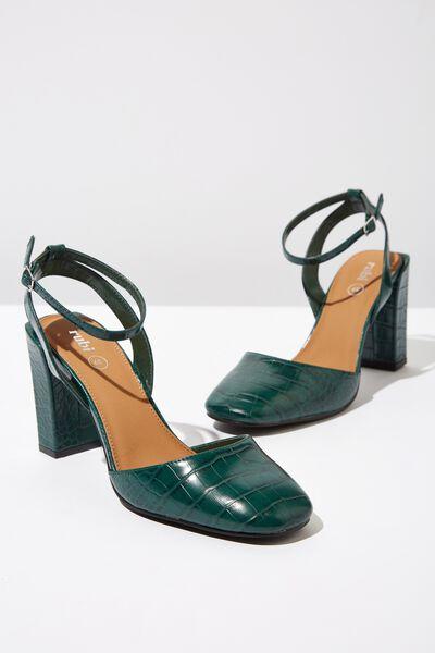 Brianna Square Toe Heel, GREEN CROC EMBOSS PU