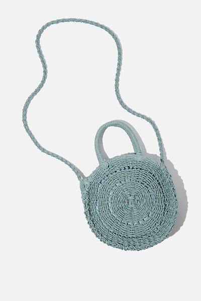 Summer Love Woven Circle Bag, SAGE