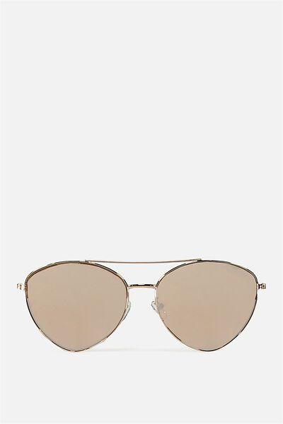 Olivia Fashion Aviator Sunglasses, S.ROSE GOLD