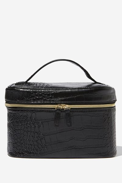 Large Structured Cosmetic Case, BLACK CROC