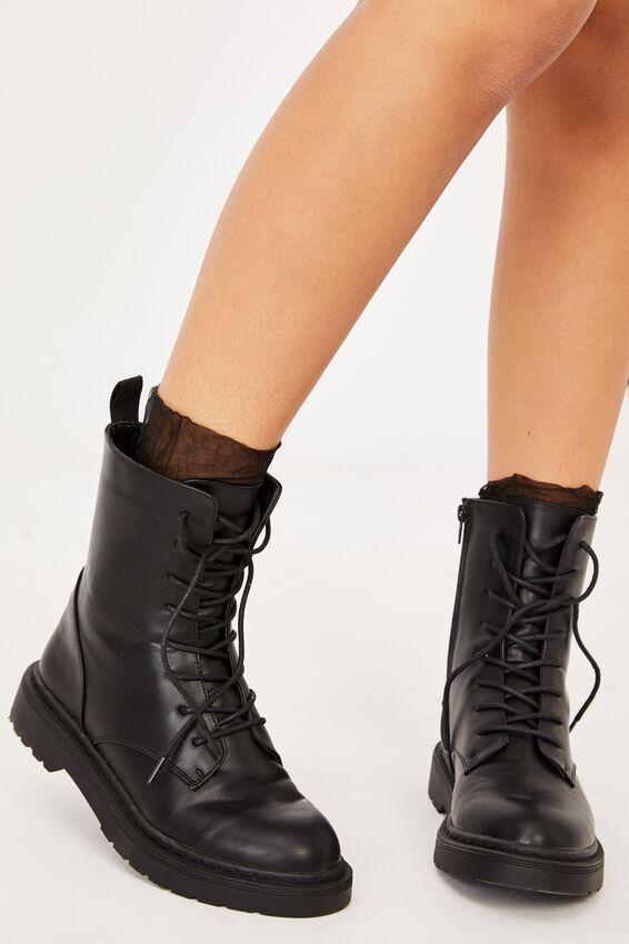Sheer Frilled Ankle Sock, BLACK