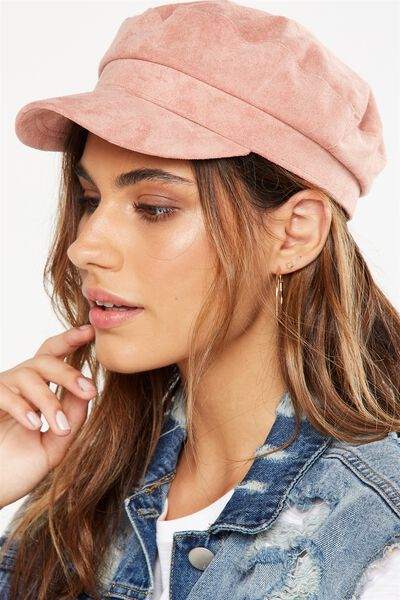 Bailey Baker Boy Cap, ROSE TAN FAUX SUEDE